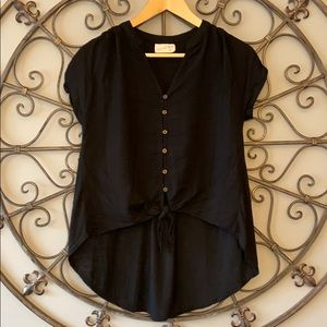 High low black button up